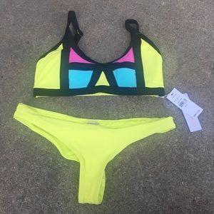 Pilyq Sunburst Color Block Bikini Size Large